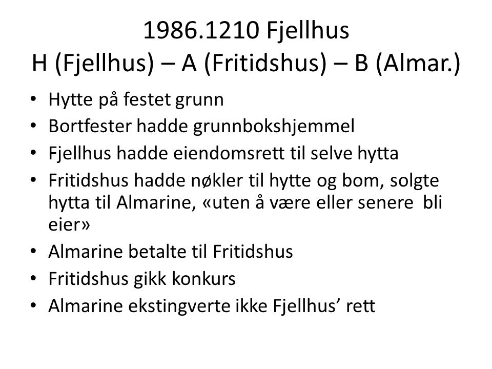 1986.1210 Fjellhus H (Fjellhus) – A (Fritidshus) – B (Almar.)