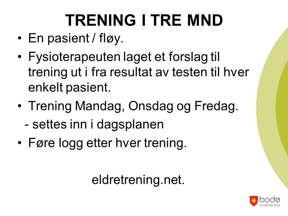 TRENING I TRE MND En pasient / fløy.