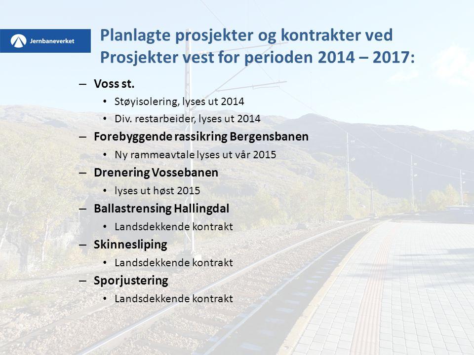 Planlagte prosjekter og kontrakter ved Prosjekter vest for perioden 2014 – 2017:
