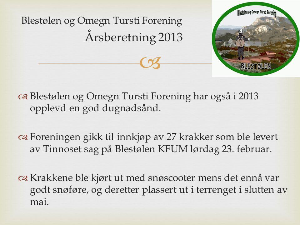 Blestølen og Omegn Tursti Forening Årsberetning 2013