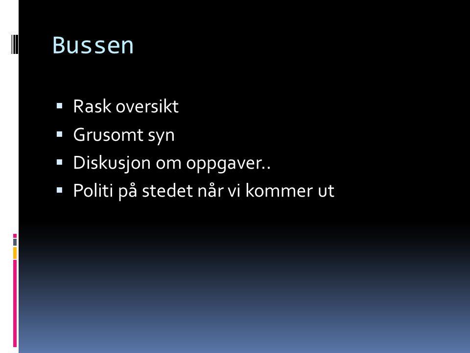 Bussen Rask oversikt Grusomt syn Diskusjon om oppgaver..