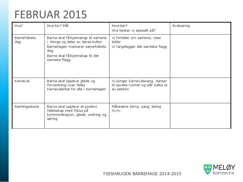 FJØSHAUGEN BARNEHAGE 2014-2015