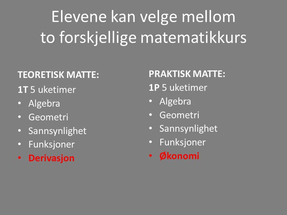 Elevene kan velge mellom to forskjellige matematikkurs
