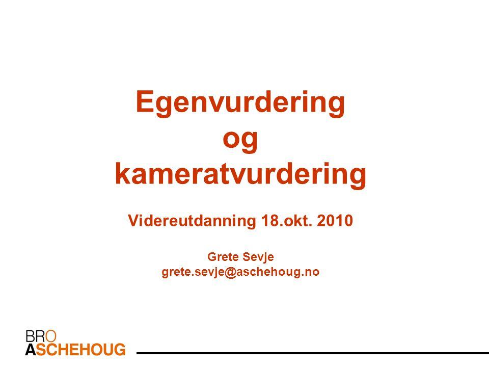Egenvurdering og kameratvurdering Videreutdanning 18. okt