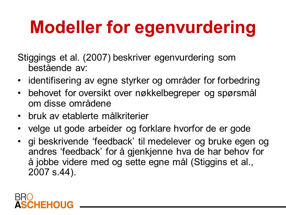 Modeller for egenvurdering