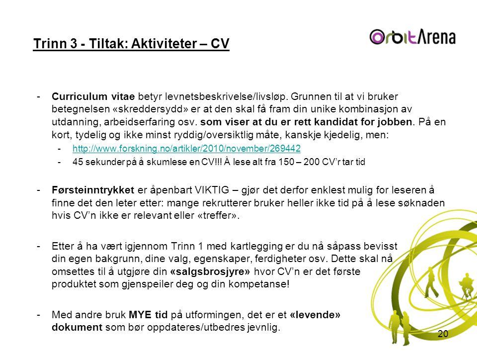 Trinn 3 - Tiltak: Aktiviteter – CV