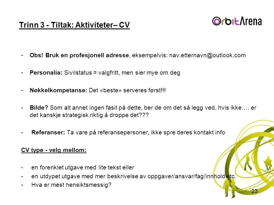 Trinn 3 - Tiltak: Aktiviteter– CV