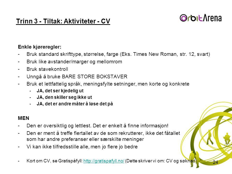 Trinn 3 - Tiltak: Aktiviteter - CV