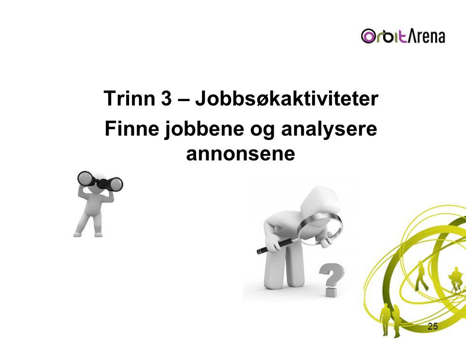 Trinn 3 – Jobbsøkaktiviteter Finne jobbene og analysere annonsene