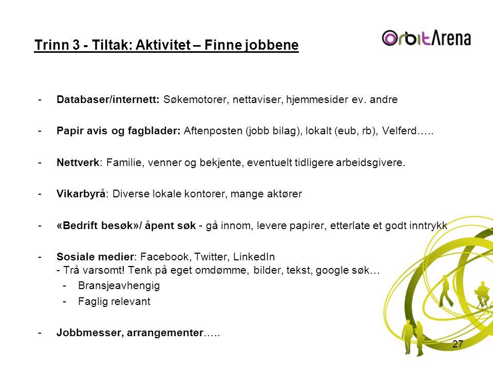 Trinn 3 - Tiltak: Aktivitet – Finne jobbene