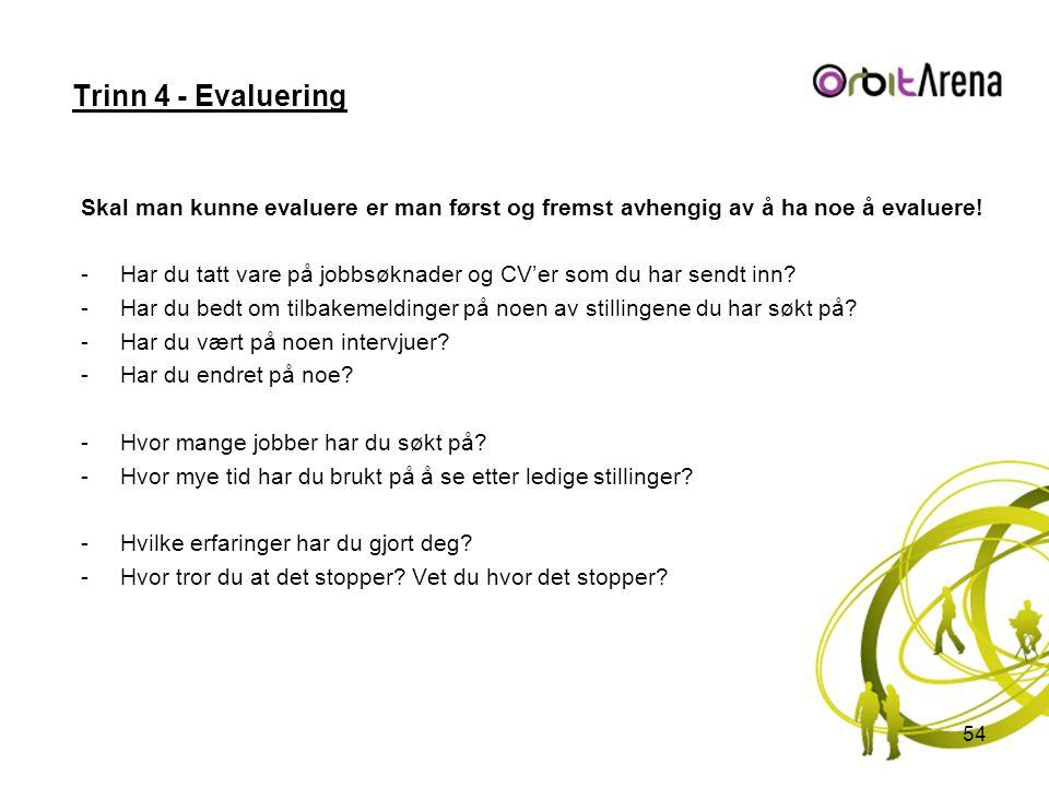 Trinn 4 - Evaluering Skal man kunne evaluere er man først og fremst avhengig av å ha noe å evaluere!