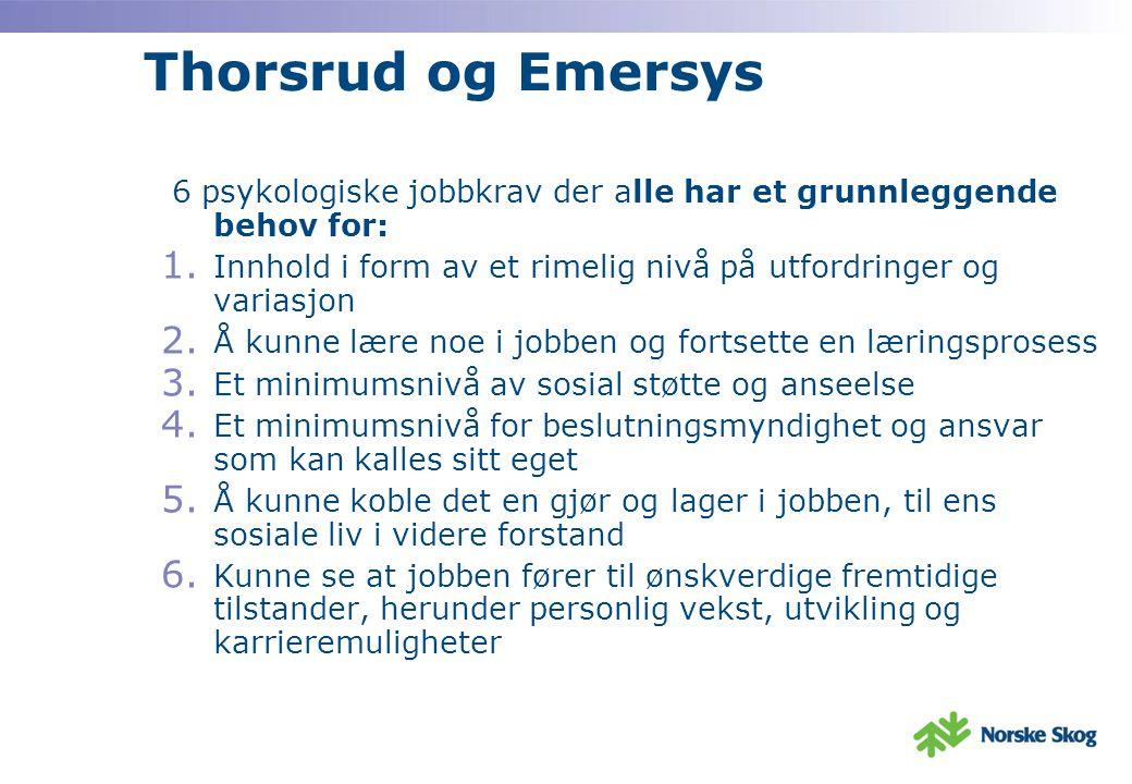 Thorsrud og Emersys 6 psykologiske jobbkrav der alle har et grunnleggende behov for: Innhold i form av et rimelig nivå på utfordringer og variasjon.