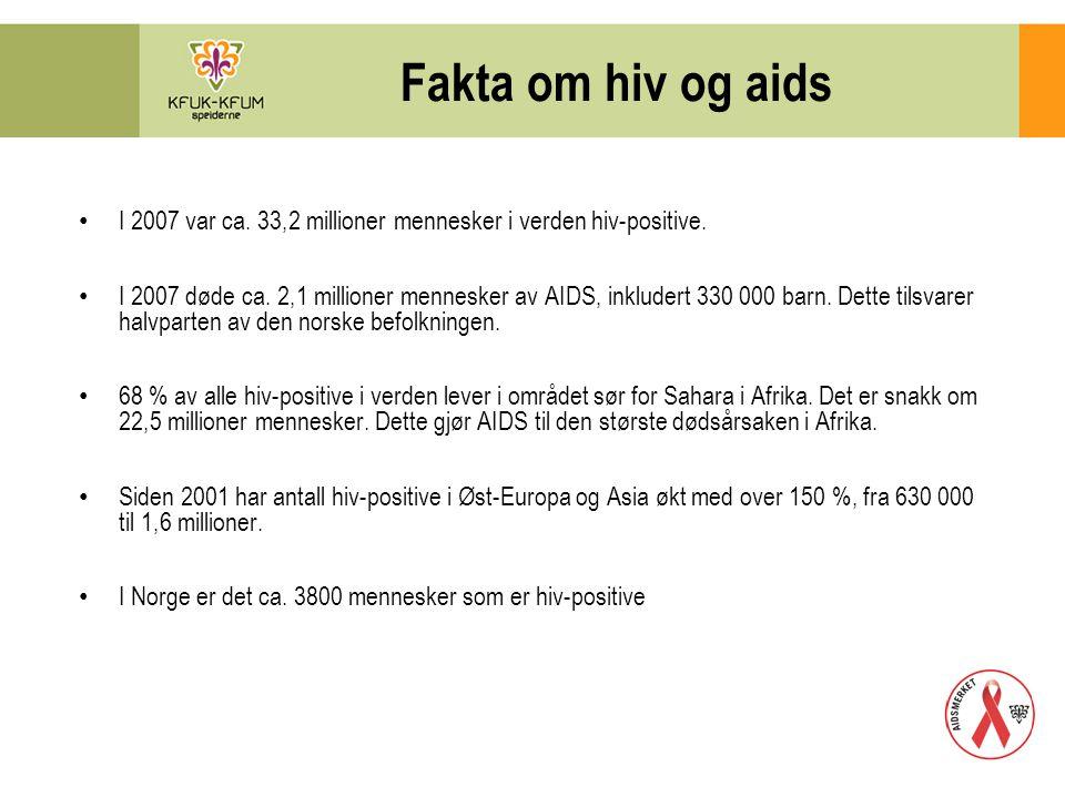 Fakta om hiv og aids I 2007 var ca. 33,2 millioner mennesker i verden hiv-positive.
