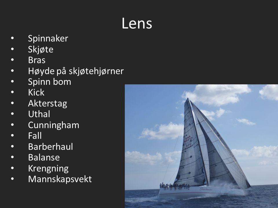 Lens Spinnaker Skjøte Bras Høyde på skjøtehjørner Spinn bom Kick