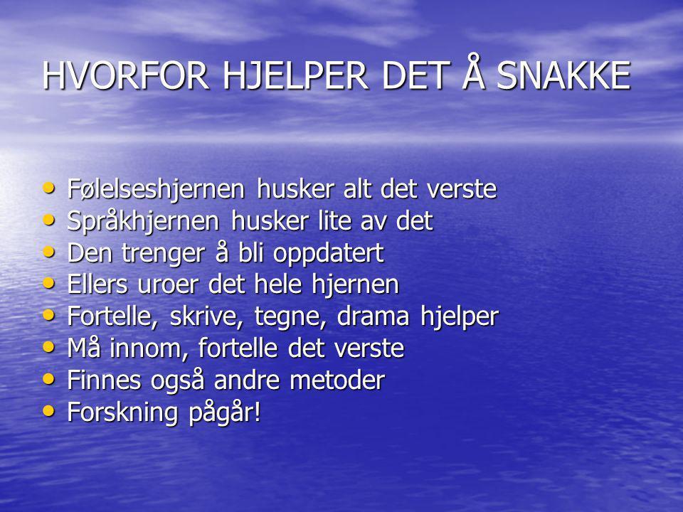 HVORFOR HJELPER DET Å SNAKKE