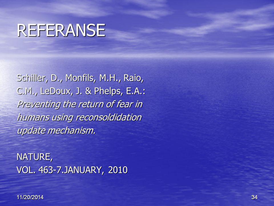 REFERANSE Schiller, D., Monfils, M.H., Raio,