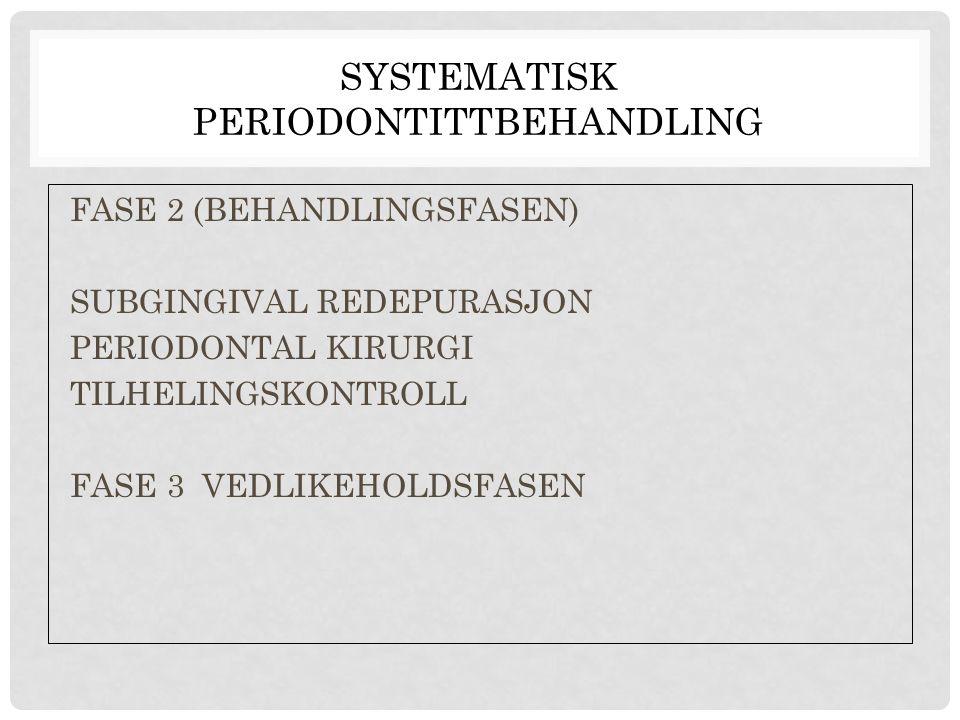 SYSTEMATISK PERIODONTITTBEHANDLING