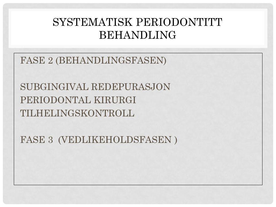 SYSTEMATISK PERIODONTITT BEHANDLING