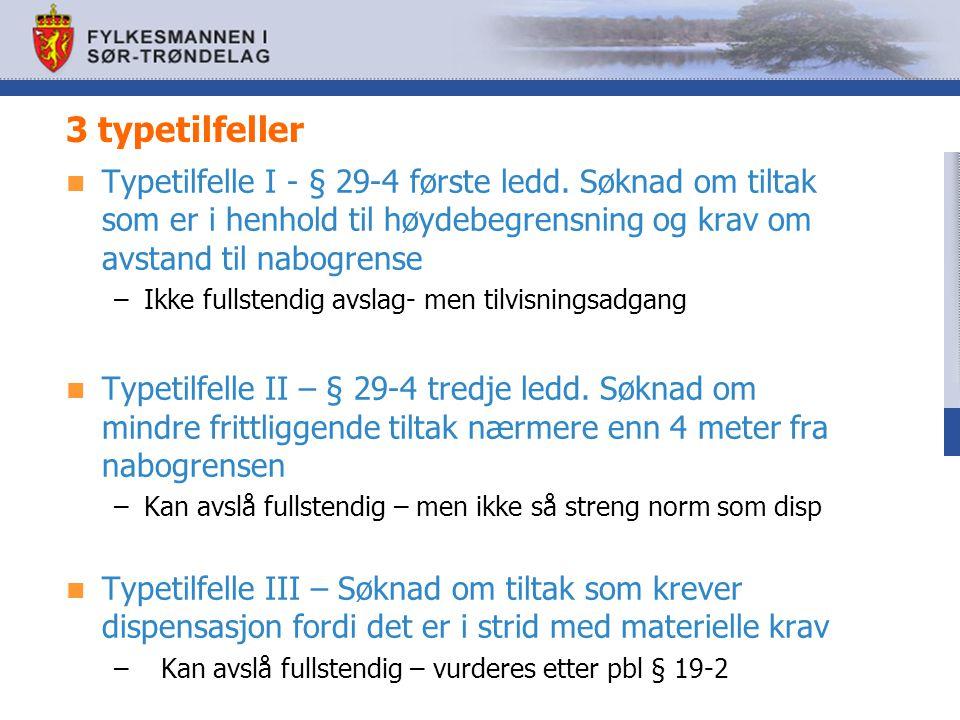3 typetilfeller Typetilfelle I - § 29-4 første ledd. Søknad om tiltak som er i henhold til høydebegrensning og krav om avstand til nabogrense.
