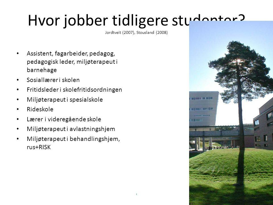 Hvor jobber tidligere studenter Jordtveit (2007), Stousland (2008)