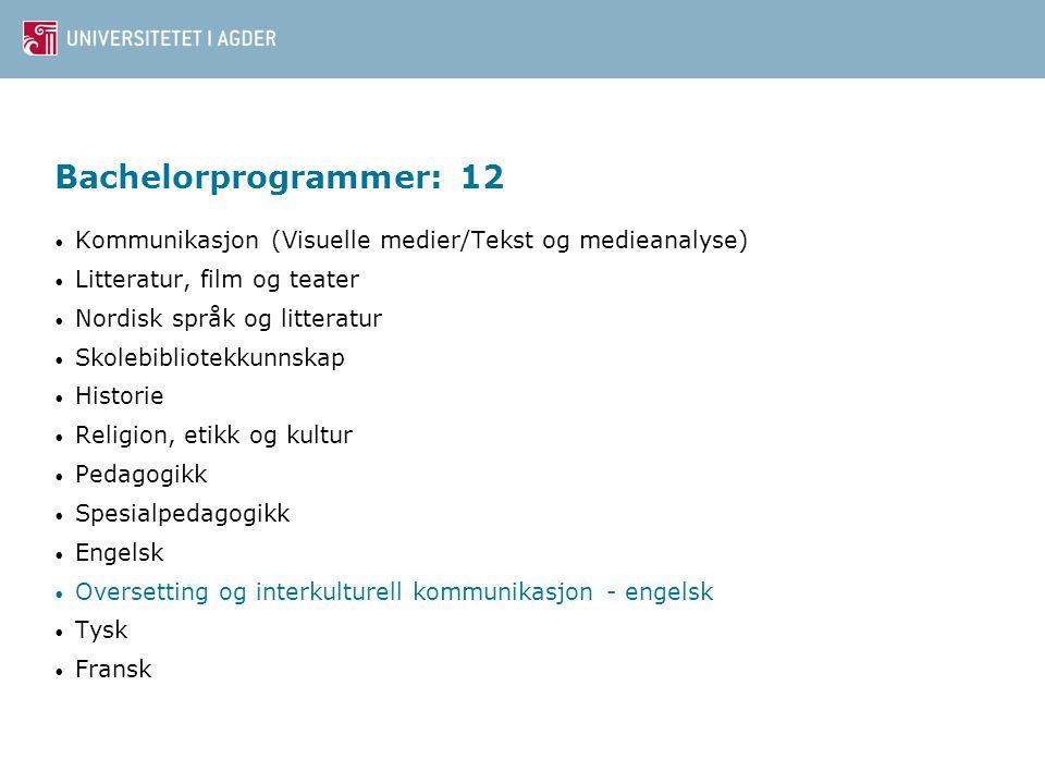 Bachelorprogrammer: 12 Kommunikasjon (Visuelle medier/Tekst og medieanalyse) Litteratur, film og teater.