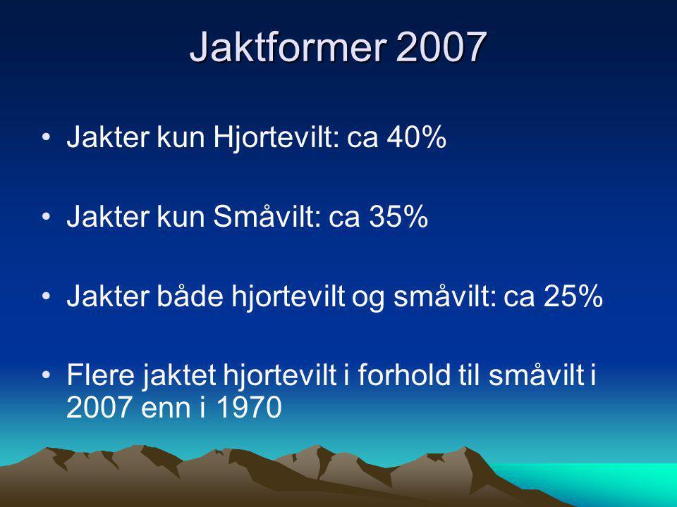 Jaktformer 2007 Jakter kun Hjortevilt: ca 40%
