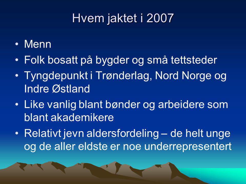 Hvem jaktet i 2007 Menn Folk bosatt på bygder og små tettsteder