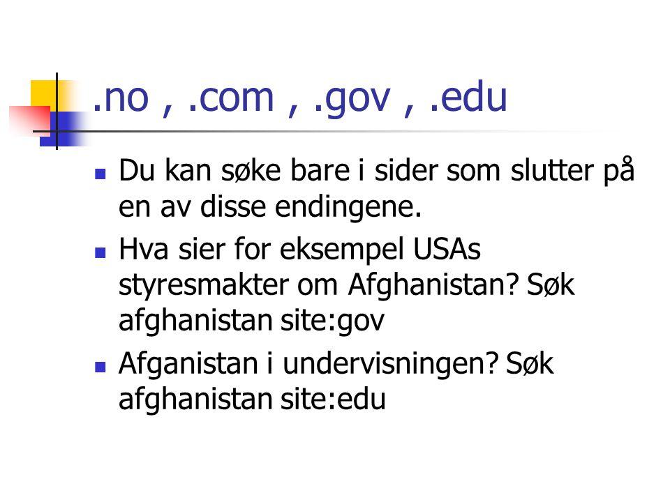 .no , .com , .gov , .edu Du kan søke bare i sider som slutter på en av disse endingene.