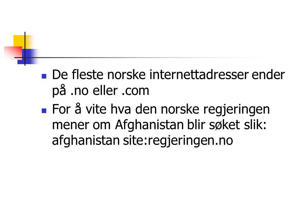 De fleste norske internettadresser ender på .no eller .com