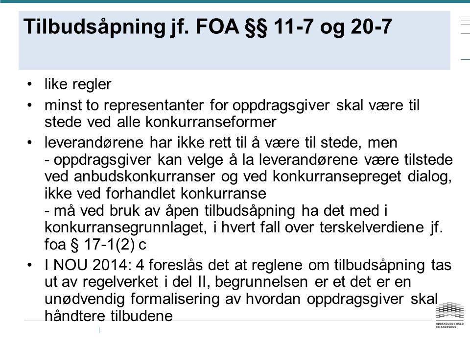 Tilbudsåpning jf. FOA §§ 11-7 og 20-7