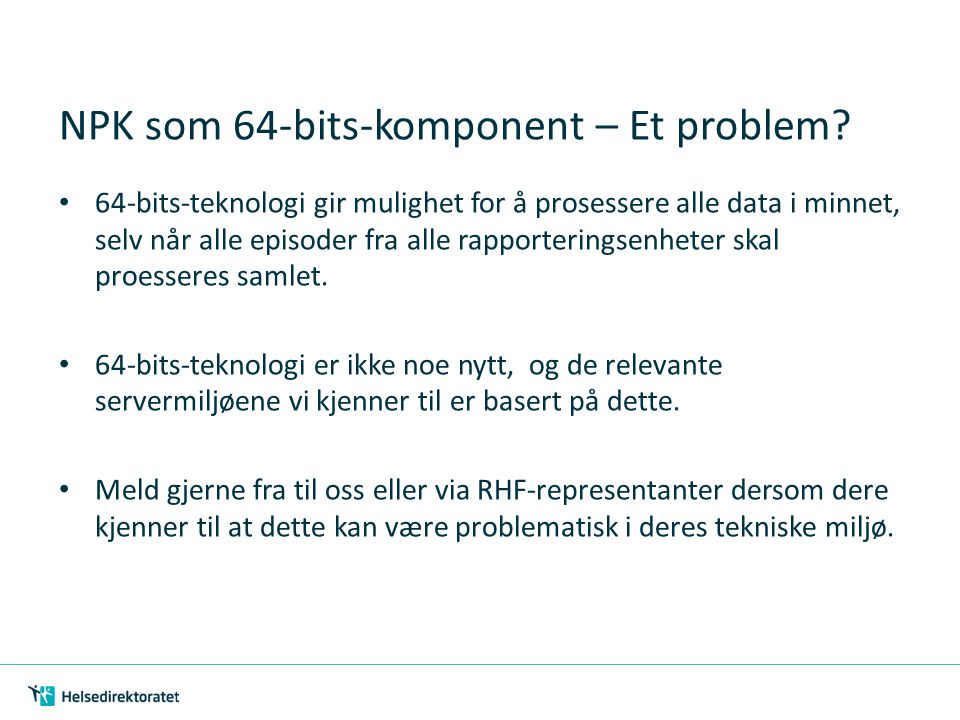 NPK som 64-bits-komponent – Et problem