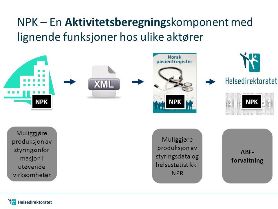 NPK – En Aktivitetsberegningskomponent med lignende funksjoner hos ulike aktører