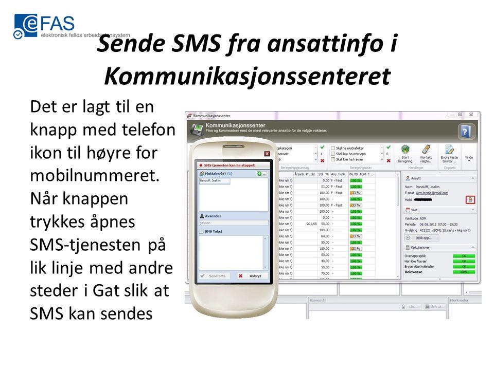 Sende SMS fra ansattinfo i Kommunikasjonssenteret