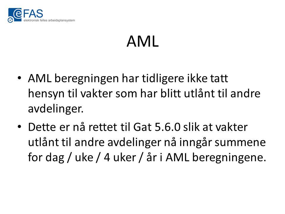 AML AML beregningen har tidligere ikke tatt hensyn til vakter som har blitt utlånt til andre avdelinger.
