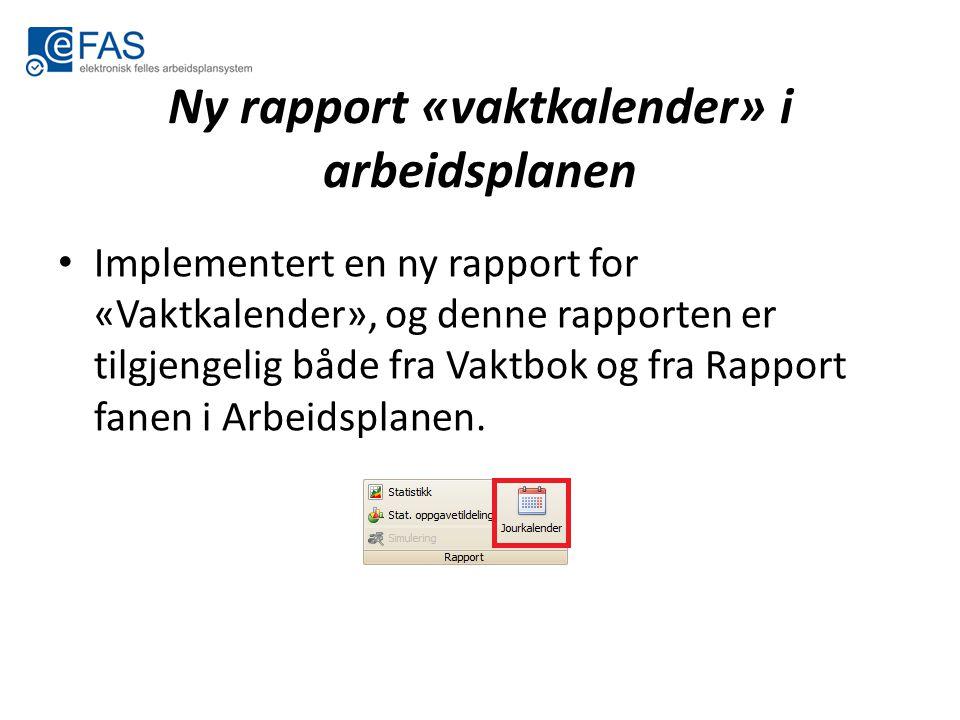 Ny rapport «vaktkalender» i arbeidsplanen