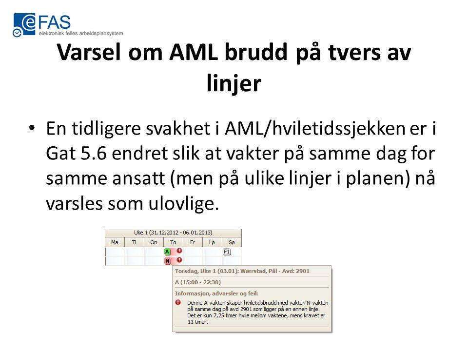 Varsel om AML brudd på tvers av linjer