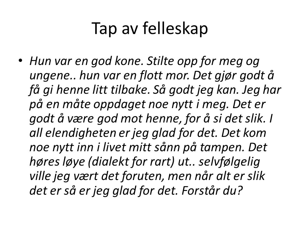 Tap av felleskap