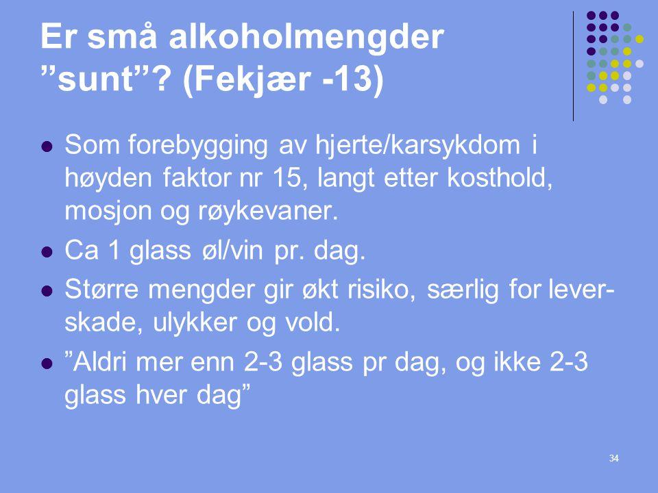 Er små alkoholmengder sunt (Fekjær -13)