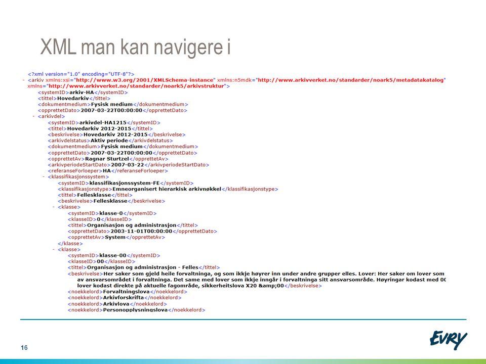 XML man kan navigere i Man kan lukke hele trær ved visning i nettleseren. Men filen kan bli svært stor…