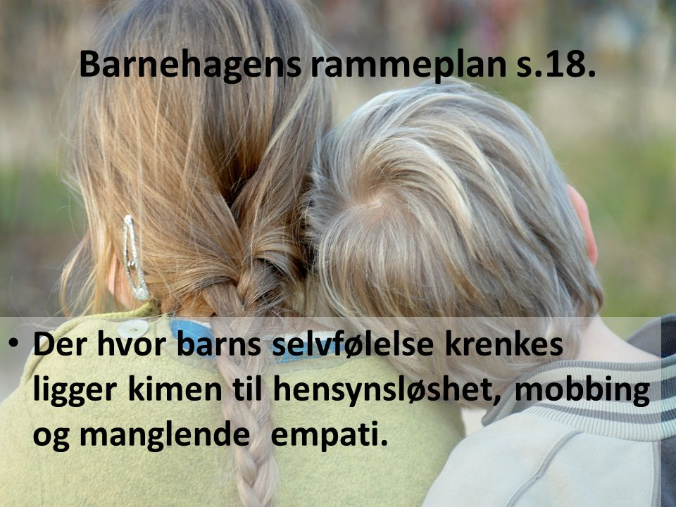 Barnehagens rammeplan s.18.