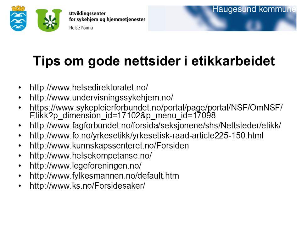Tips om gode nettsider i etikkarbeidet