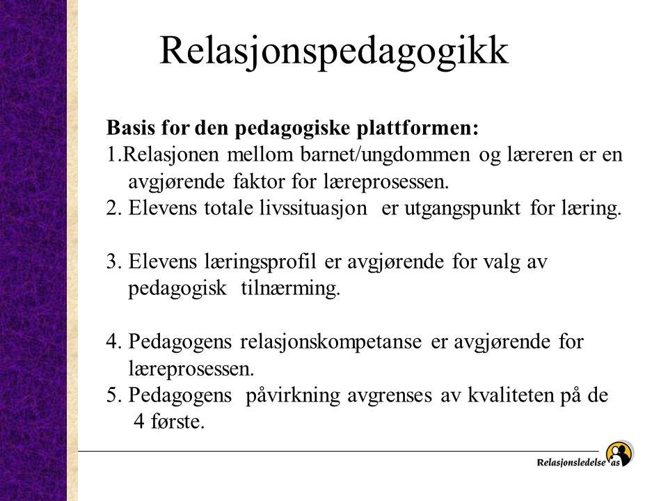 Relasjonspedagogikk Basis for den pedagogiske plattformen: