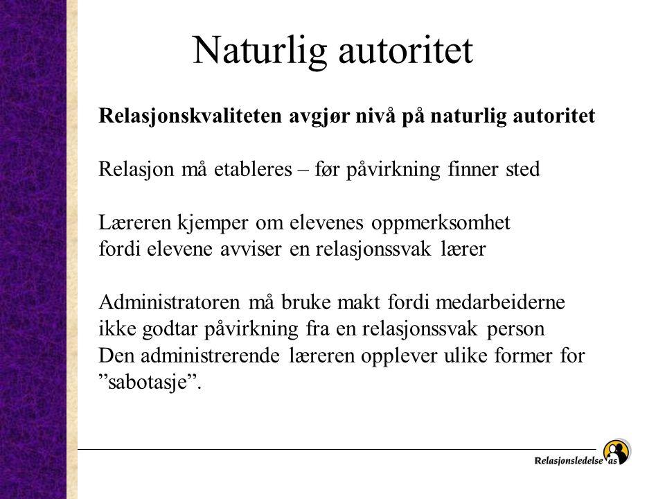 Naturlig autoritet Relasjonskvaliteten avgjør nivå på naturlig autoritet. Relasjon må etableres – før påvirkning finner sted.