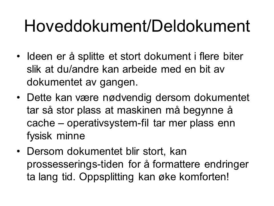 Hoveddokument/Deldokument