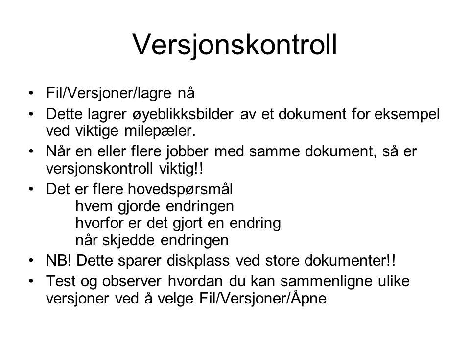 Versjonskontroll Fil/Versjoner/lagre nå