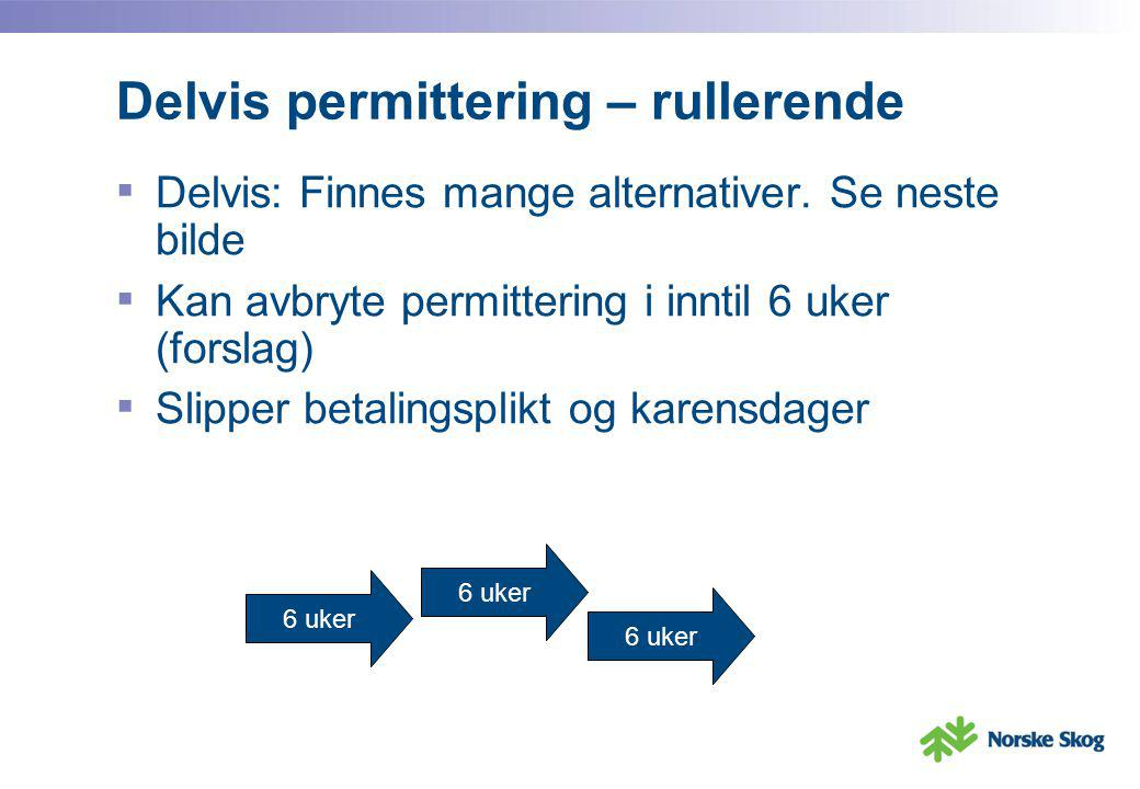 Delvis permittering – rullerende