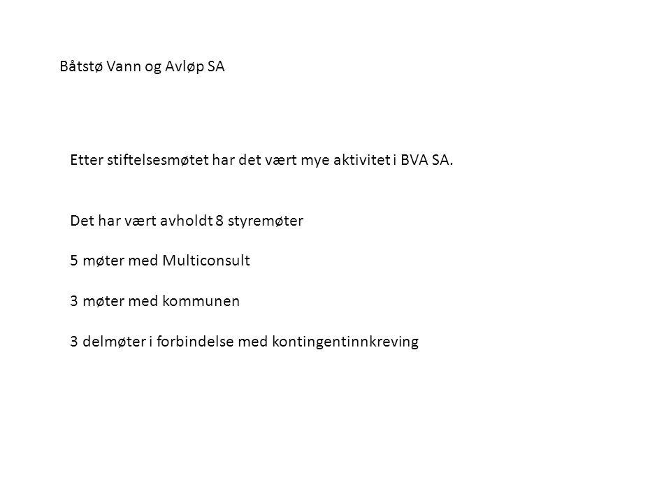 Båtstø Vann og Avløp SA Etter stiftelsesmøtet har det vært mye aktivitet i BVA SA. Det har vært avholdt 8 styremøter.