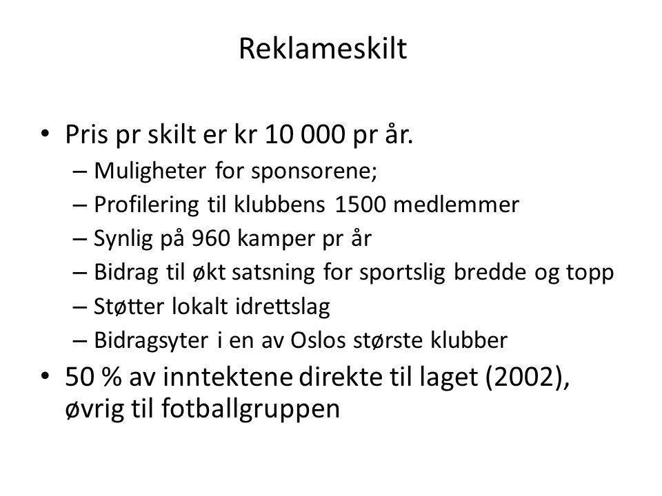 Reklameskilt Pris pr skilt er kr 10 000 pr år.