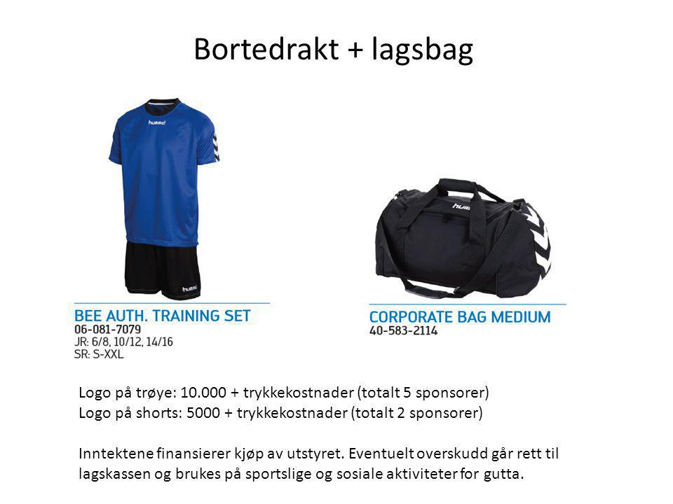 Bortedrakt + lagsbag Logo på trøye: 10.000 + trykkekostnader (totalt 5 sponsorer) Logo på shorts: 5000 + trykkekostnader (totalt 2 sponsorer)