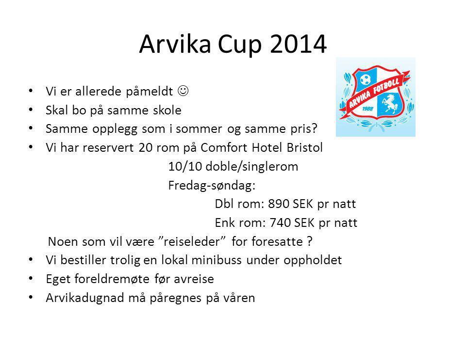 Arvika Cup 2014 Vi er allerede påmeldt  Skal bo på samme skole
